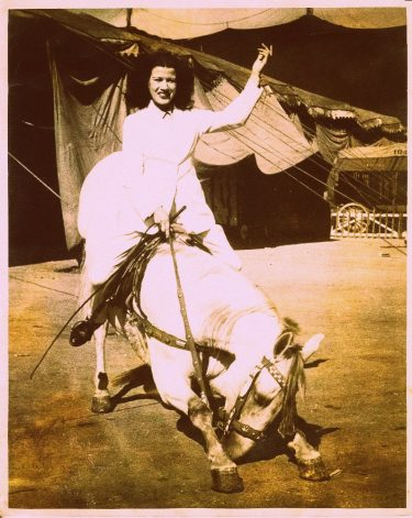 My mother on a horse in the circus